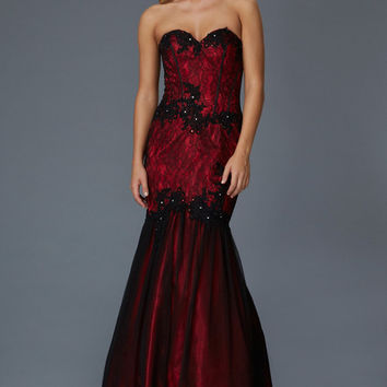 G2141 Vintage Look Black / Red Lace Mermaid Prom Dress
