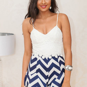 Blue and White Chevron Lace Jumper