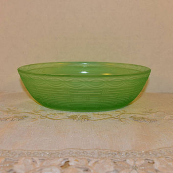 Fenton Green Glass Nest Vintage Hen on Nest Bottom Only Green Glass Basket Weave Fenton Replacement Glass Nest Large Hen Bowl