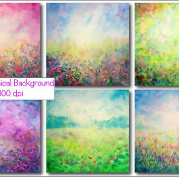 Watercolor abstract spring mythical landscape background instant download for scrapbook, wall art, photoshop background