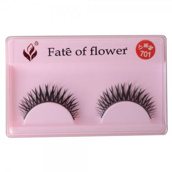 10 Pairs Synthetic Fiber Cross Individual False Eyelashes Black (Without Glue)/10005929