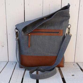 Canvas Totes - Leather tote bag - Camel Grey Foldover bag - Crossbody bag - Messenger bag - Everyday bag