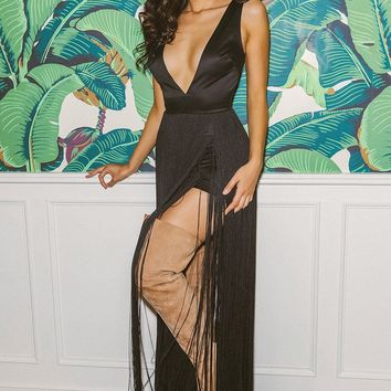 Danika Black Fringe Maxi Dress