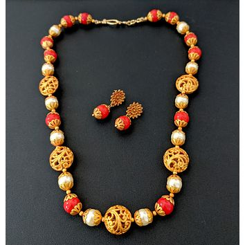 Orange and pearl bead matte finish simple chain necklace and earring set