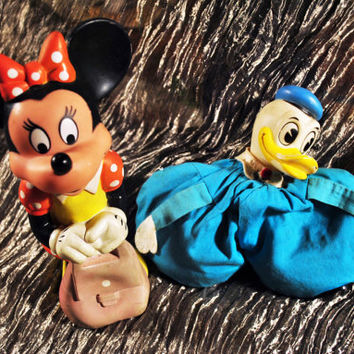 Vintage-Walt Disney Production- Minnie Mouse and Donald Duck -Rubber Squeaky Toys-Collectible