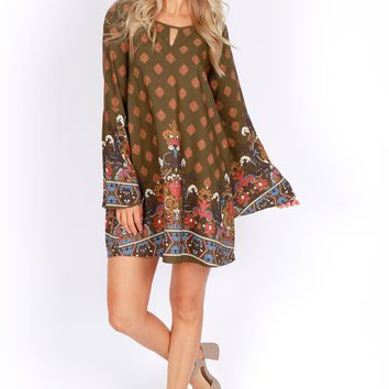Bell Sleeve Print Dress Olive/Rust