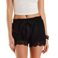 Black Sash-Belted Scalloped Lace Shorts by Charlotte Russe