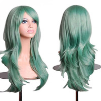 Green Anime Wig Cosplay Curly Wig Body Wave  Wig