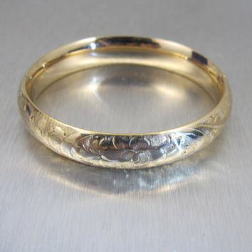 Victorian Bangle Bracelet, Gold Filled Engraved Edwardian Bangle, JFSS James F Sturdy Sons, Antique Jewelry, Gold Cuff