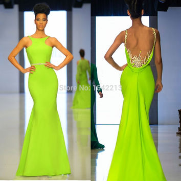 Robe De Soiree 2016 Plus Size Foremal Evening Dress Long Mermaid Sereia Prom Party Gown Halter Backless Beaded Simple Sleeveless