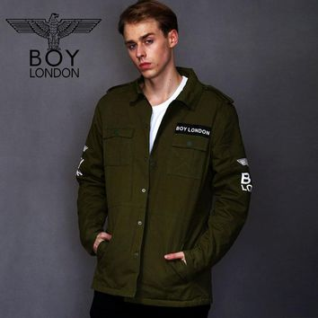 BOY LONDON Men's Oversized Military Style Denim Patchwork Jacket