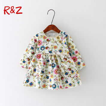 Autumn Baby Girl Dress Cotton Infant Dress Floral Print European Style Vintage Long Sleeve Toddler Dress Birthday Baby Clothes