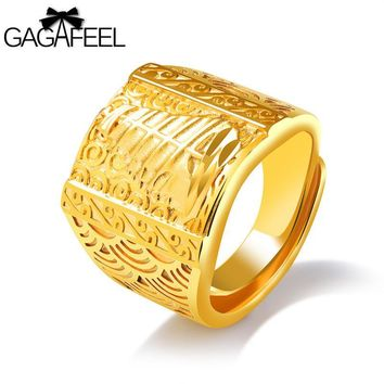 GAGAFEEL Men Gold Color Open Rings Luxury Smooth Sailing Ring Domineering  Boat Design Jewelry Copper Finger Bijoux Free Size