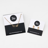 TWP Safety Pin Jewellery Set Gold