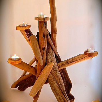 Driftwood Sculpture Centerpiece- Handmade Driftwood Art- Candle Holder- Candelabra- 5 Tea Light-Almost 2 Ft. Tall -Unique Handmade Sculpture