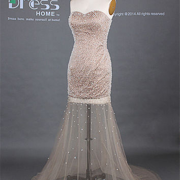 Sexy Champagne Sweetheart Hand Made Pearls Beading See Through Long Prom Dress/Flowy Homecoming Dress/Luxury Party Dress/Evening Dress DH233