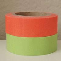 Set of 2 WASHI TAPES Solid Neon for Supplies, Crafting, Scrap booking, Packaging