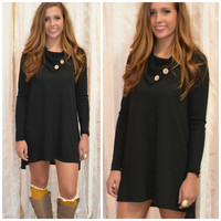 SZ MEDIUM Luck Of The Draw Black Button Neck Dress