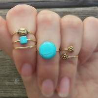 Gold Midi Ring Set, Turquoise Beaded Knuckle Rings, Gold Stacking Rings, Turquoise and Gold Bohemian Rings