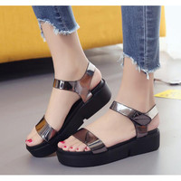 Summer high quality PU shallow  flat with women sandals