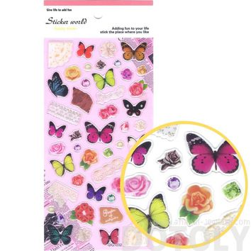 Colorful Tropical Butterflies Roses and Lace Shaped Stickers for Scrapbooking