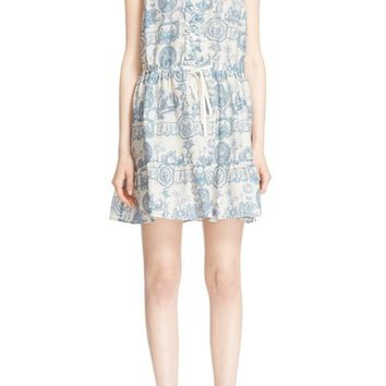 RED Valentino Toile de Jouy Cotton & Silk Dress | Nordstrom