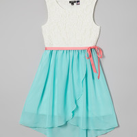 Aqua & White Floral Lace Hi-Low Dress - Girls | something special every day