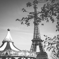 Black and white Paris photograph, Eiffel Tower and carousel, carnival, tree branches, summer, city, travel