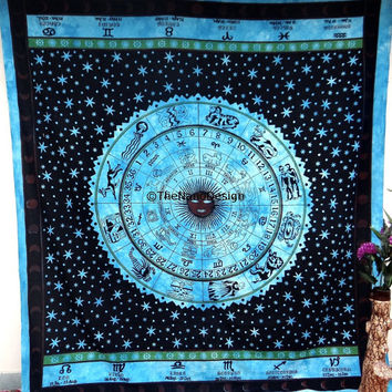 Astrology Zodiac Horoscope Wall Tapestries,Sun and moon Room Décor, Psychedelic Tapestry Wall Hanging,  Dorm Bedding Tapestry Art