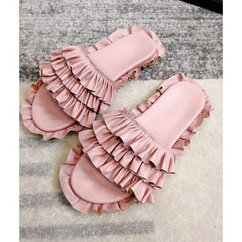 2018 new ruffled skirt with a word open toe sandals women's wear slippers F-RCSTXC pink