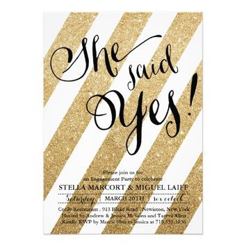 Gold Glitter Stripe Engagement Party Invitation