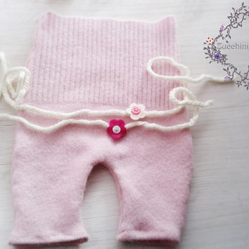 RTS Newborn Photo Prop, Upcycled Baby Romper, Baby girl pants, Photography props for baby girl, etsykids, europeanstreetteam, pink