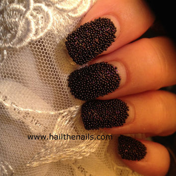 Black Caviar Beads Nail Art - This seasons must have nails.