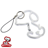 Peanuts Snoopy Silhouette Carabiner Cell Phone Strap (Silver)