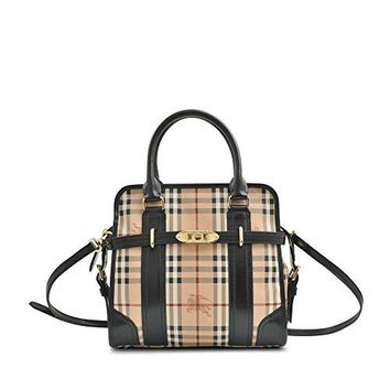 Burberry 'Minford' Medium Haymarket Portrait Tote Black