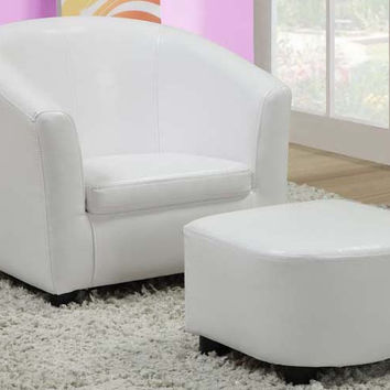 Leather-Look Juvenile Chair / Ottoman 2Pcs Set White
