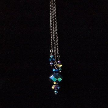 colorful faceted glass & front clasp choker with long pendants // faceted glass beads on gunmetal toned chain and toggle clasp
