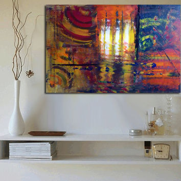 Abstract large paintings acrylic original modern art paintings on gallery, stretched canvas, ready to hang. Blue red orange. Free shipping!