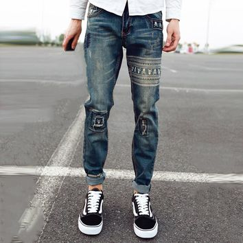 Fashion Spring Fall Men Denim Pants High Waist Jeans
