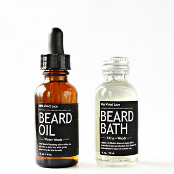 MEN'S FACIAL SET. beard oil + beard bath wash. 100% natural & vegan men's grooming set.