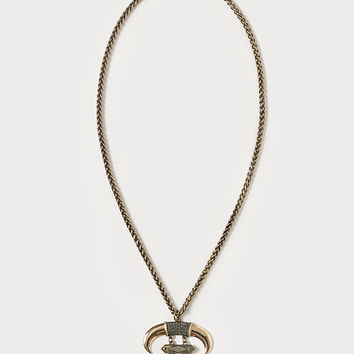 bebe Womens Horn Pendant Necklace Gold