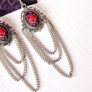 "Cameo earrings ""Red Roses"""