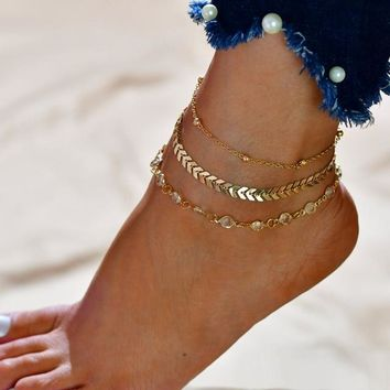 Multilayer Ankle Bracelet, Chevron and Crystal Gold Anklet