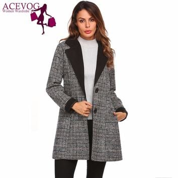 ACEVOG Women Woolen Coat Warm Vintage Winter Autumn Fashion Lapel Long Sleeve Plaid European Classic Wool Blend Peacoat Jacket