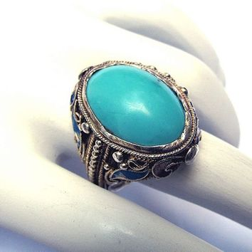 Early Chinese Export Persian Turquoise Silver Ring, from aestheticengineering on Ruby Lane
