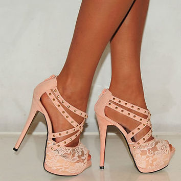 NUDE LACE STRAPPY STUDS STILETTO PLATFORMS HIGH HEELS PARTY PROM SHOES SIZE 3-8