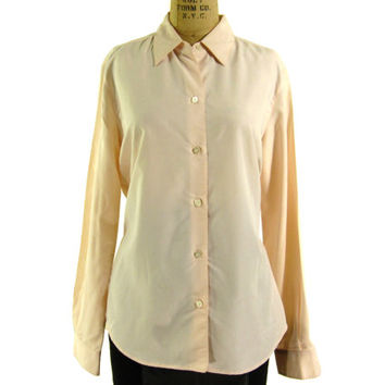 Vintage Pastel Pink Oxford Shirt - Button Down Peach Blouse Preppy Dress - Women's Size Small Medium Sm Med S M - Sale