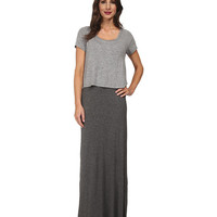 Splendid Maxi Double Layer Dress Heather Grey - 6pm.com