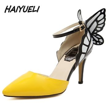 HAIYUELI new fashion Dream Butterfly buckle women pumps sexy pointed toe wedding party nightclub high heels sandals shoes woman