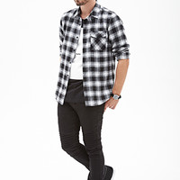 Blurred Plaid Flannel Shirt